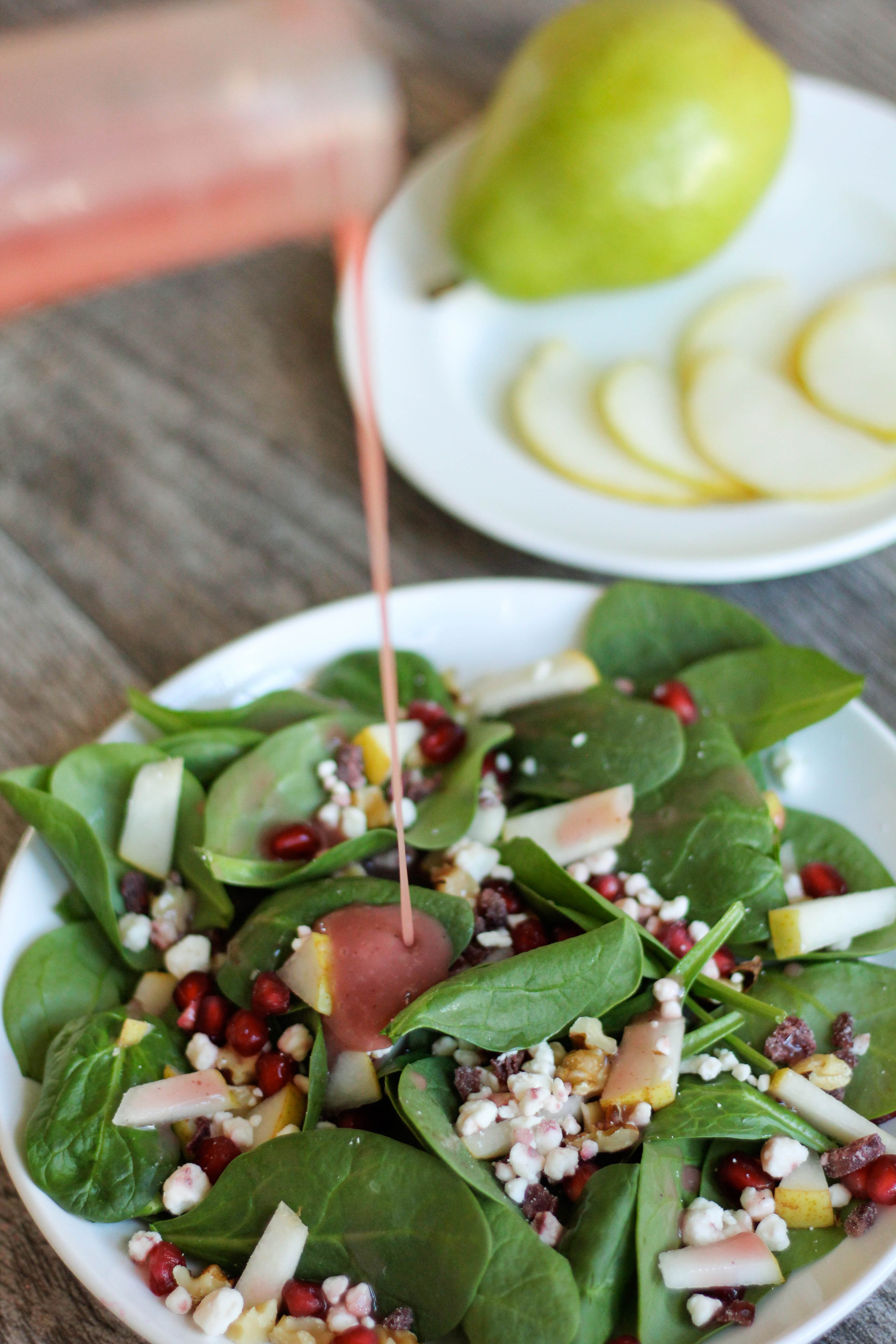 Spinach Salad with Pear, Pomegranate, and Goat Cheese - RunEatSnap