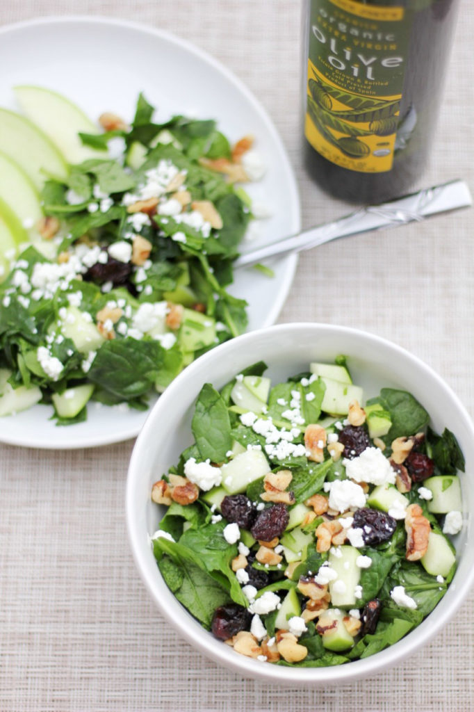 Delicious fall salad with cranberries, walnuts and goat cheese